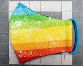 READY TO SHIP Horizontal Rainbow Stripes Contoured Cotton Face Mask w/ Filter Pocket