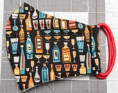 READY TO SHIP Booze Bottles Pattern Contoured Cotton Face Mask w/ Filter Pocket