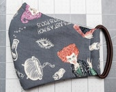 READY TO SHIP Halloween Hocus Pocus Pattern Contoured Cotton Face Mask w/ Filter Pocket