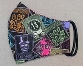 READY TO SHIP Halloween Rainbow Black Tarot Pattern Contoured Cotton Face Mask w/ Filter Pocket