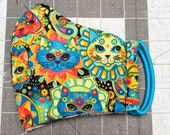 READY TO SHIP Psychedelic Cats Pattern Contoured Cotton Face Mask w/ Filter Pocket