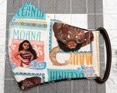 READY TO SHIP Moana Pattern Contoured Cotton Face Mask w/ Filter Pocket
