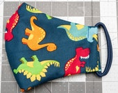 READY TO SHIP Dinosaurs Pattern Contoured Cotton Face Mask w/ Filter Pocket