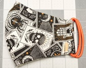 READY TO SHIP Halloween Tarot Card Designs Pattern Contoured Cotton Face Mask w/ Filter Pocket