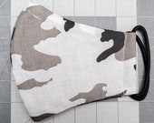 READY TO SHIP White Camouflage Pattern Contoured Cotton Face Mask w/ Filter Pocket