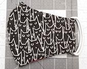 READY TO SHIP Black Cartoon Cats Contoured Cotton Face Mask w/ Filter Pocket