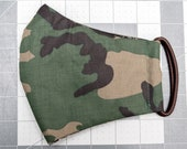 READY TO SHIP Green Camouflage Pattern Contoured Cotton Face Mask w/ Filter Pocket