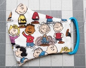 READY TO SHIP Peanuts Characters on White Contoured Cotton Face Mask w/ Filter Pocket