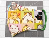 READY TO SHIP Bananya Cat Squares Pattern Contoured Cotton Face Mask w/ Filter Pocket