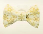 Dapper Cat Metallic Gold Snowflakes Cat Bow Tie