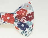 Dapper Cat Blue & Red Floral Pattern with Silver Accents Cat Bow Ties #17019