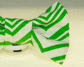 Dapper Cat Green and White Chevron Cat Bow Tie