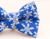 Dapper Cat Blue Snowflake Pattern Cat Bow Tie