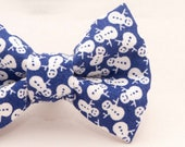 Dapper Cat Blue Snowman Pattern Cat Bow Tie