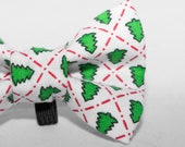 Dapper Cat White XMas Tree Pattern Cat Bow Tie