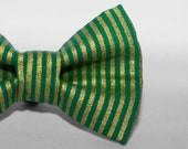 Dapper Cat Metallic Gold Striped Pattern Cat Bow Tie