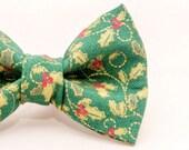 Dapper Cat Metallic Green Mistletoe Pattern Cat Bow Tie
