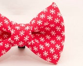 Dapper Cat Red Snowflake Pattern Cat Bow Tie