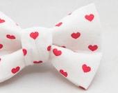 Dapper Cat White with Hearts Valentine Bow Tie