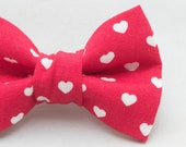 Dapper Cat Red with Hearts Valentine Bow Tie