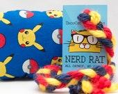 Pokemon Pikachu and Pokeballs Catnip Stuffed NerdRat Cat Toy