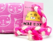 Pink Kitty Faces Catnip Stuffed MadRat Cat Toy