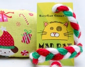 Christmas Puppies Catnip Stuffed MadRat Cat Toy