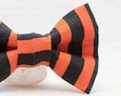 Dapper Cat Halloween Stripes Bow Tie