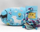 Blue Cats and Flowers Pattern MadRat Catnip Stuffed Cat Toy