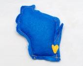 Blue & Gold Milwaukee Brewers Catnip Stuffed Wisc'rs Wisconsin Shaped Felt Catnip Toy
