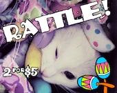RATTLE Mice - TWO for FIVE - Rattling Catnip-stuffed felt toys