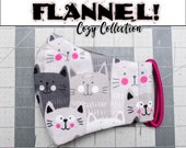 READY 2 SHIP - Gray Kitties Pattern Contoured FLANNEL Face Mask w/ Filter Pocket