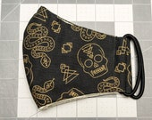 READY TO SHIP Halloween Designs in Metallic Gold on Black Pattern Contoured Cotton Face Mask w/ Filter Pocket
