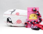 Black Cats with Pink Yarn Pattern MadRat Catnip Stuffed Cat Toy