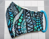 READY TO SHIP Blue Abstract Pattern Contoured Cotton Face Mask w/ Filter Pocket