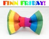 FINN FRIDAY Rough Edge Rainbow Stripe Dapper Cat Bow Tie