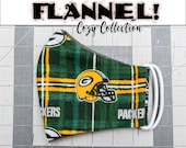 READY 2 SHIP - Green Bay Packers Pattern Contoured FLANNEL Face Mask w/ Filter Pocket