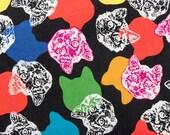 Rainbow Cat Faces on Black Pattern Refillable Catnip Mat