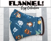 READY 2 SHIP - Star Wars Alphabet Pattern Contoured FLANNEL Face Mask w/ Filter Pocket