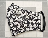 READY TO SHIP Halloween Skull and Cross Bones Pattern Contoured Cotton Face Mask w/ Filter Pocket