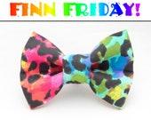 FINN FRIDAY Rainbow Leopard Print Dapper Cat Bow Tie