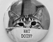 Wat Doin? - Cat Magnets and Buttons -  Different sizes available!