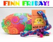 FINN FRIDAY Rainbow Swirls Pattern MadRat Catnip Stuffed Cat Toy