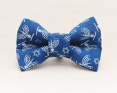 Dapper Cat Menorah and Stars of David Hanukkah Pattern Cat Bow Tie