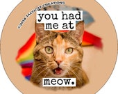 You had me at meow - Cat Magnets and Buttons -  Different sizes available!