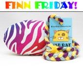 FINN FRIDAY Rainbow Zebra Stripes Pattern MadRat Catnip Stuffed Cat Toy