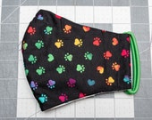 READY TO SHIP Rainbow Paws Pattern Contoured Cotton Face Mask w/ Filter Pocket