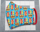 READY TO SHIP Hot Dogs and Condiments Pattern Contoured Cotton Face Mask w/ Filter Pocket