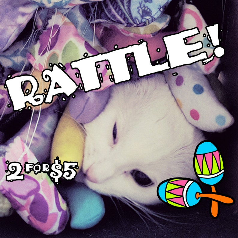 RATTLE Mice  TWO for FIVE  Rattling Catnip-stuffed felt toys image 0