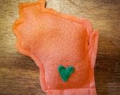 Orange Catnip Stuffed Wisc'rs Wisconsin Shaped Felt Catnip Toy